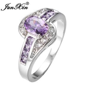 0a04440ac JUNXIN Female Purple Oval Ring Fashion White & Black Gold Filled Jewelry  Vintage Wedding Rings For