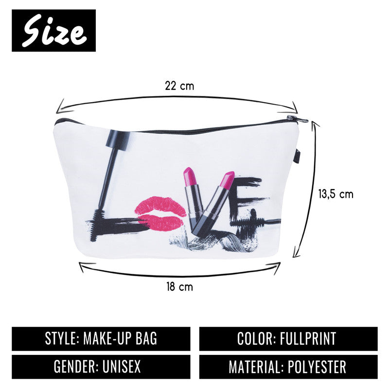 Jom Tokoy Fashion Brand Cosmetic Bags Fashion 3D Printing Women Travel Makeup Case Portable Make Up Bag