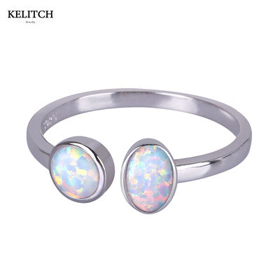 KELITCH Opal Ring Jewelry Fantasy Bohemian Wedding Bands Rings For Women Sterling Silver 925 Jewelry With Size Of 6 7 8 9 10