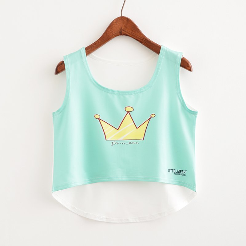 KaiTingu New 2017 Fashion Women Crop Top Sleeveless Cat Princess Print Summer Casual Top Women Short Cropped Tops Vest Tank Tops