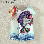 KaiTingu Novelty T Shirt Summer Harajuku Kawaii Cute Fish Animal Panda Print T-shirt Short Sleeve T Shirt Women Tops M L XL Size