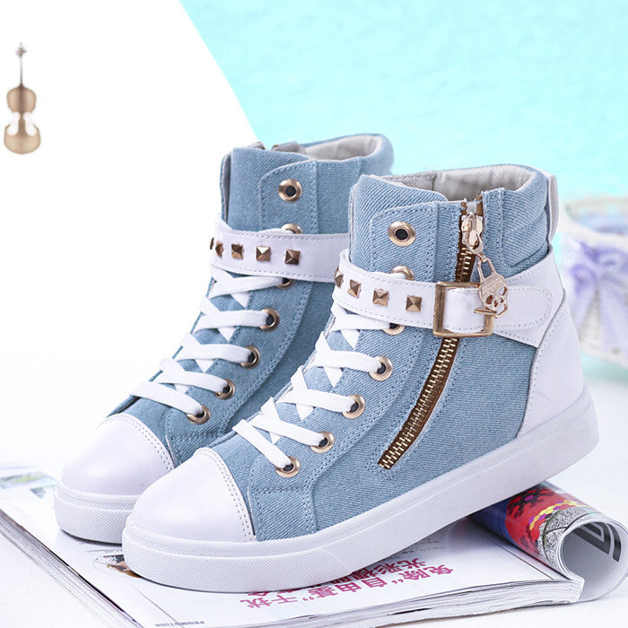 Keloch Europe Style High-Top Flat Women Fashion Canvas Shoes Zipper Casual Women Shoes Ladies White Espadrilles Zapatillas Mujer