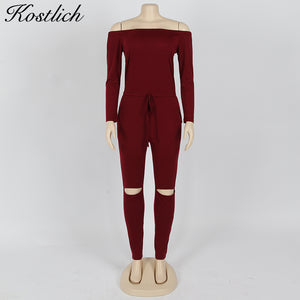 Kostlich Autumn 2017 Women Rompers Off Shoulder Long Sleeve Jumpsuit Romper Sexy Women Clothes 5 Colors Rompers Womens Jumpsuit