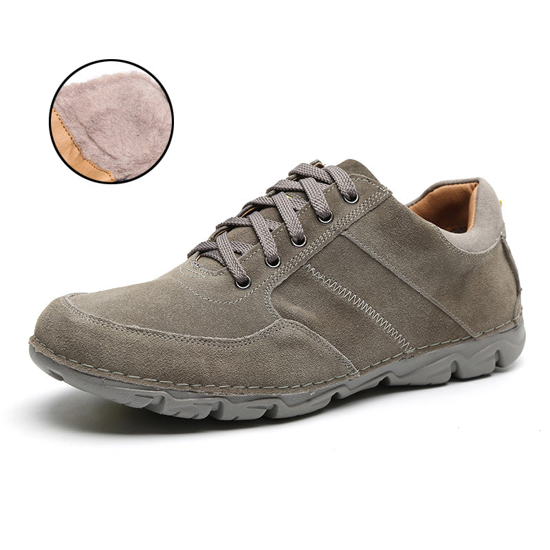 LINGGE New Men's Shoes Suede Leather Casual Shoes Breathable Men Shoes Fashion Leather Flats Light TPR Outsole #5327-5
