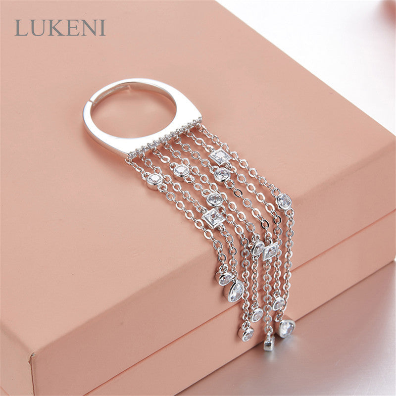 LUKENI Free Shipping Hot Sale AAA Zircon S925 Sterling Silver Microscope Single Ring Tassel Rings For Women Fashion Jewelry