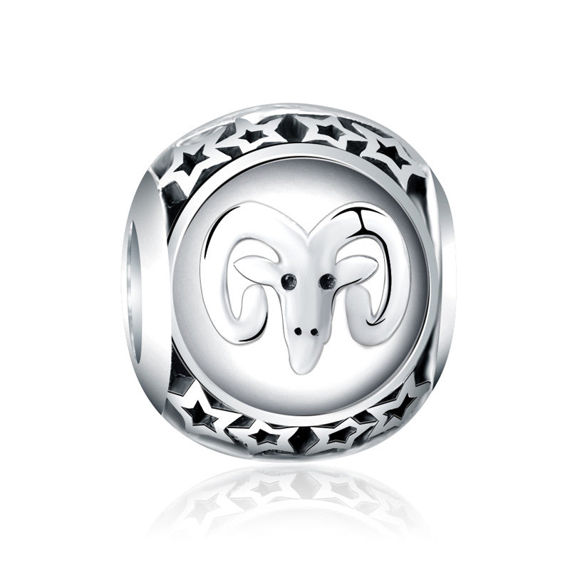 LZESHINE 925 Sterling Silver Beads Twelve Constellations Accessoriess Zodiac Bead Charm Fit Original Pandora Bracelet PSMB0709