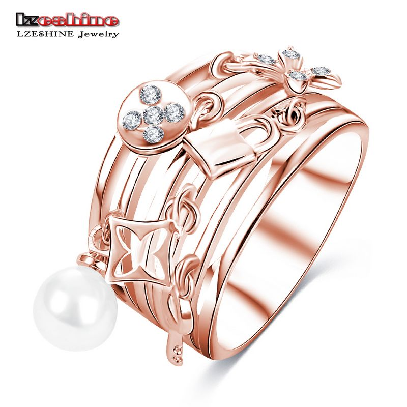 LZESHINE New Design Women Ring Multilayer Hollow Silver Color Finger Ring Exquisite Decorative Jewelry CRI0419-B
