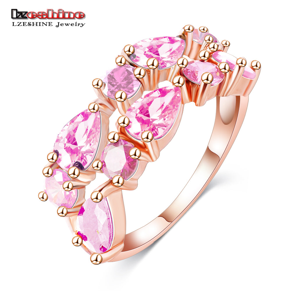 LZESHINE Wedding Ring Bands Bijouterie Finger Ring Rose Gold Color ...