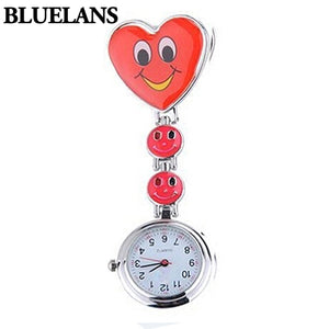 Ladies Women's Cute Smiling Faces Heart Clip-On Pendant Nurse Fob Brooch Pocket Watch