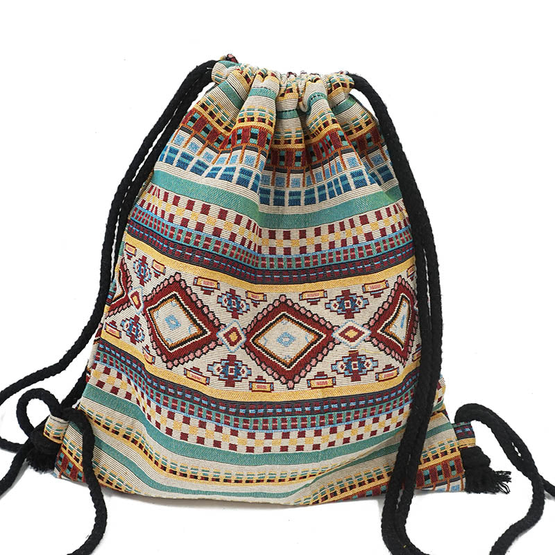 LilyHood Women Fabric Backpack Female Gypsy Bohemian Boho Chic Aztec Ibiza Tribal Ethnic Ibiza Brown Drawstring Rucksack Bags