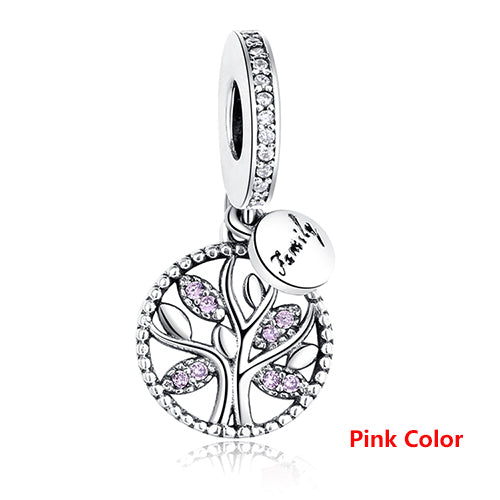 Luxury 925 Sterling Silver FAMILY TREE WITH CUBIC ZIRCONIA Bead Charms Fit Original Pandora Charm Bracelet DIY Authentic Jewelry