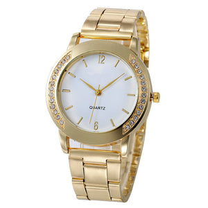Luxury Women Watch Gold Stainless Steel Band Rhinestone Analog Quartz Watch Luxury Simple Style Wrist Watches Women Clock