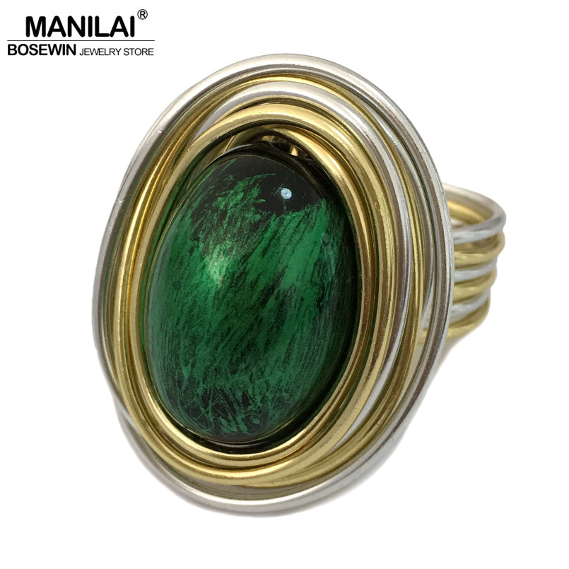 MANILAI Vintage Metal Wire Wrap Green Acrylic Handmade Steampunk Rings For Women Fashion Jewelry Statement Finger Rings Gift