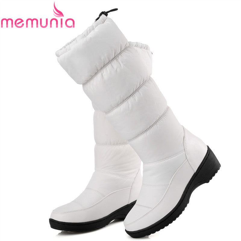 MEMUNIA NEW 2018 fashion warm knee high snow boots women round toe soft leather warm down winter thick fur ladies winter shoes