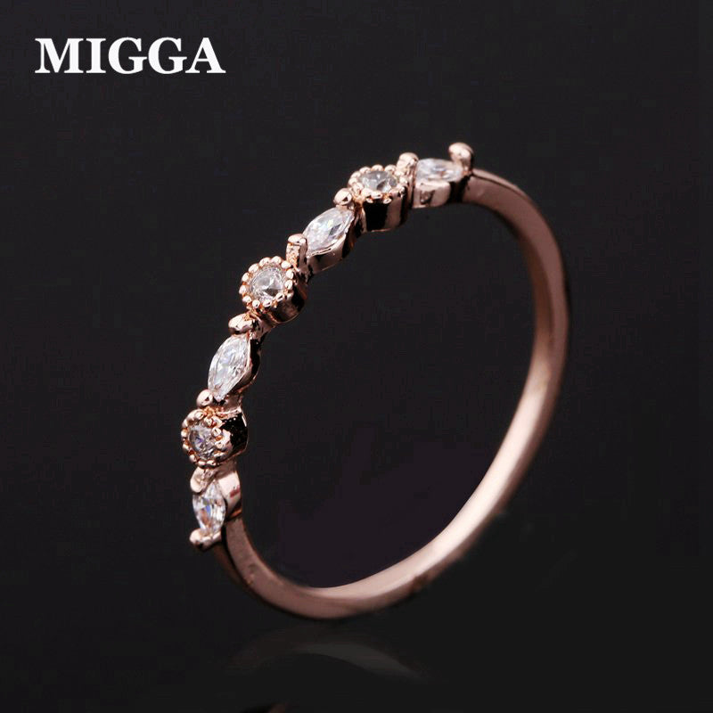 MIGGA Brand Shining Small Fashion Cubic Zircon Ring for Women Girls Rose Gold Color CZ Crystal Bague