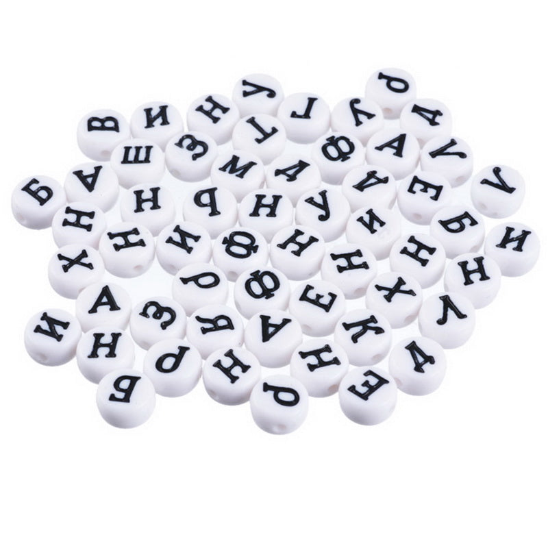 MJARTORIA 300PCs White Round Flat Russian Alphabet Beads Acrylic Letter Spacer Beads For DIY Jewelry Making Random Mixed 7mm