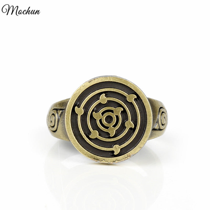 MQCHUN Anime Naruto Uchiha Sasuke Itachi Sharingan Akatsuki Organization Rings Vintage Punk Style Jewelry Bronze Color For Mens