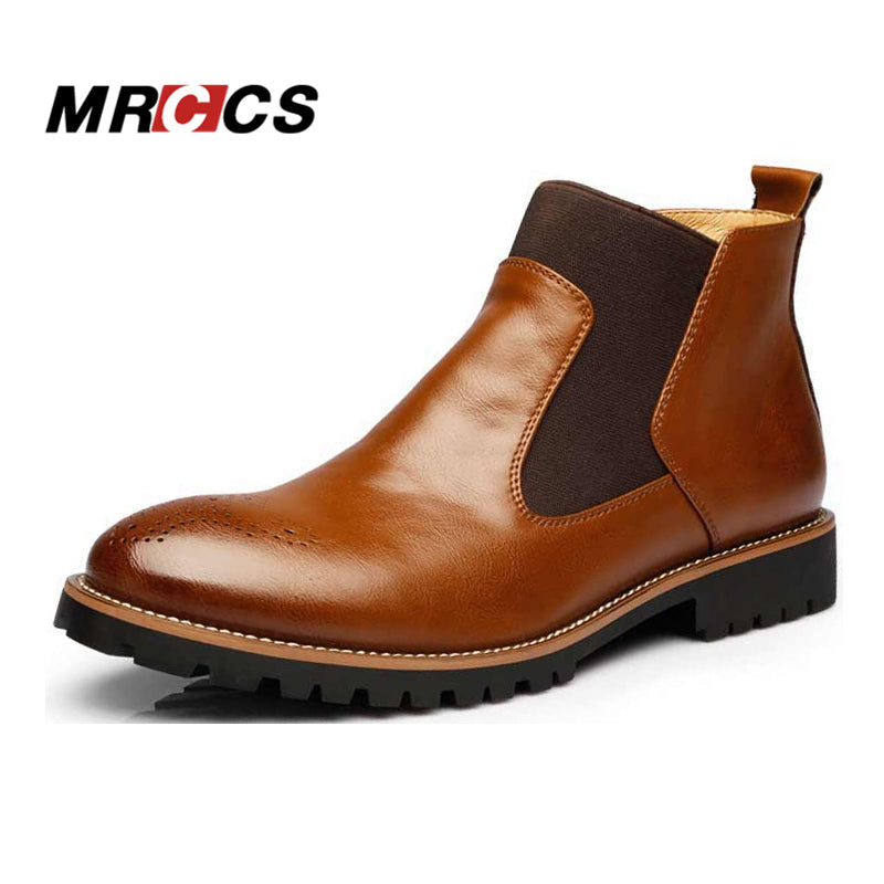 MRCCS Spring/Winter Fur Men's Chelsea Boots,British Style Fashion Ankle Boots,Black/Brown/Red Brogues Soft Leather Casual Shoes