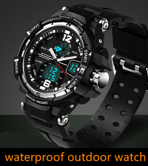 Male Fashion Sport Military Wristwatches 2016 New SANDA Watches Men Luxury Brand 3ATM 30m Dive LED Digital Analog Quartz Watches