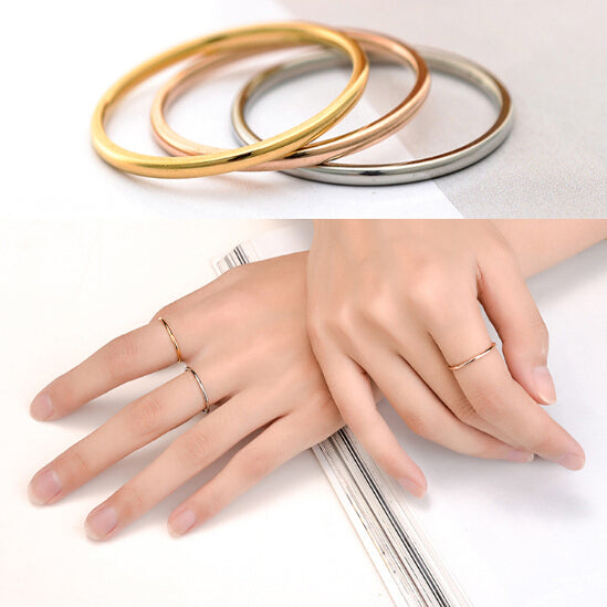 Martick Stainless Steel Rose Gold Finger Thin Ring Fashion Jewelry For Women Gold-color/Silver/Black Ring Anillos Size 4-10 R9