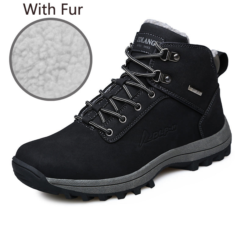 Men Boots Winter With Fur 2017 Warm Snow Boots Men Shoes Footwear Fashion Male Rubber Winter Ankle Boots