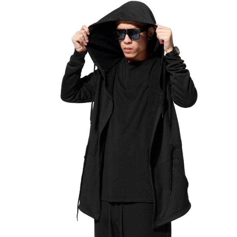 Men Hooded With Black Gown Fashion Hip Hop Mantle Hoodies Hat Sweatshirts long Sleeves Design Cloak Winter Coats Outwear Loose