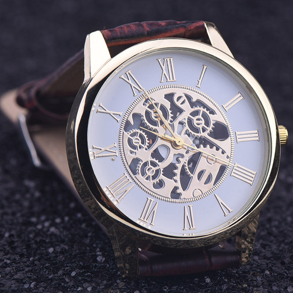 Men Watches Casual Rome Digital Leather Band Analog Dial Quartz Wrist Watch Quartz-Watch Relogio Masculino Relojes Hombre 2017