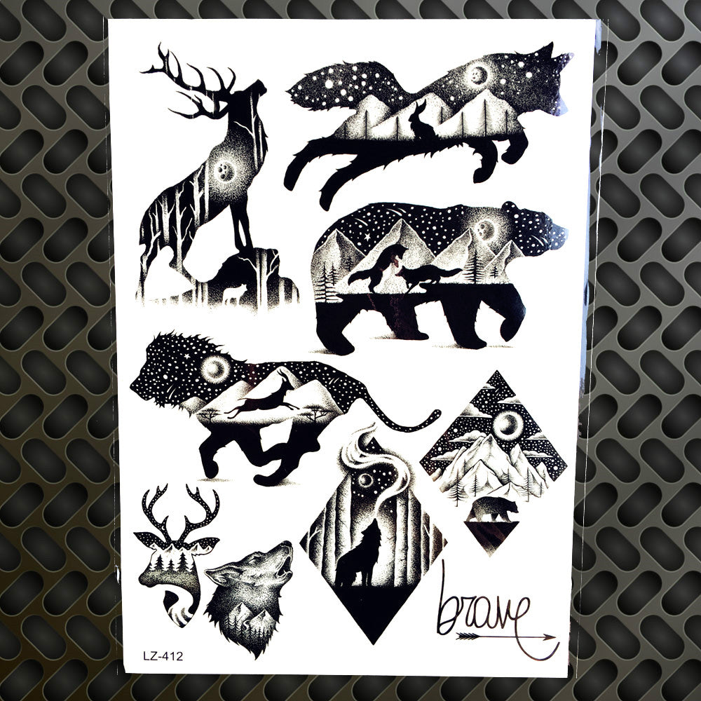 Men Waterproof Tattoo Sticker Fashion Death Skull Temporary Tattoo Body Arm Leg 21x15CM Women Fake Flash Tatoo Sticker Sleeves