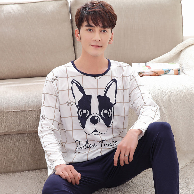 Men's Pajamas Spring& Autumn Long Sleeve Home Wear Thin Cotton Plaid Pyjamas Men Lounge Pajama Sets Plus Young Boys Sleepwear
