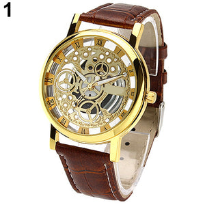 Men's Women's Roman Numerals Faux Leather Band Skeleton Analog Sports Dress Wrist Watch New Design 5DIQ