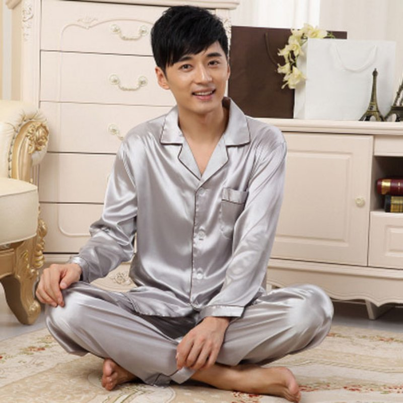 Mens Autumn Winter Soft Silk Satin Sleepwear Loungwear Robes Pajamas Pyjamas Set