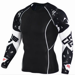 Mens Compression Shirts 3D Teen Wolf Jerseys Long Sleeve T Shirt Fitness Men Lycra MMA Crossfit T-Shirts Tights Brand Clothing