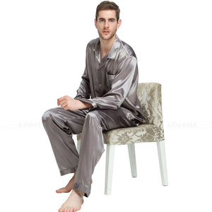 Mens Silk Satin Pajamas Set Pajama Pyjamas Set PJS Set Sleepwear Loungewear S,M,L,XL,2XL,3XL,4XL__Perfect Gifts