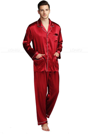 Mens Silk Satin Pajamas Set Pajama Pyjamas Set Sleepwear Loungewear S,M,L,XL,XXL,XXXL,4XL Plus Size__Big and tall