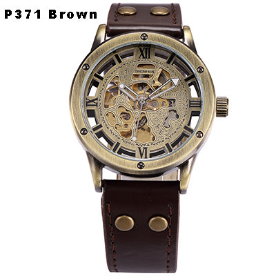 Mens Steampunk Skeleton Automatic Mechanical Watches Retro Bronze Antique Leather Self Widing Wrist Watch Clock Men reloj hombre