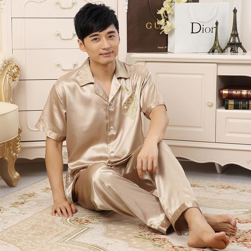 Mens silk shirts pyjamas men male sleepwear mens sexy sleepwear pajamas men mens silk pajamas 006