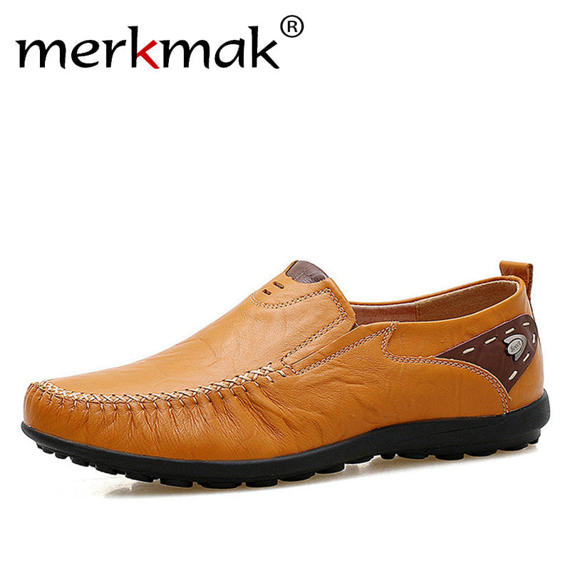 Merkmak Soft Leather Men Loafers New Handmade Casual Shoes Men Moccasins For Men Comforable Leather Flat Shoes big size 39-47