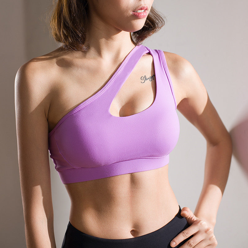 Mermaid Curve 2017 New Women's High Impact Personality oblique shoulder strap Sports Bra Women running fitness Bra Top clothes