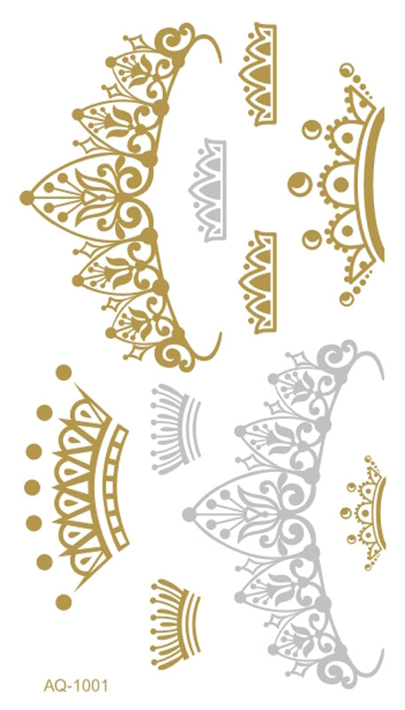 Metallic Gold Silver Body Art Temporary Tattoo Flash Tatoo Sexy Crowns Henna Tatouage Body Art Tattoo Stickers for Women TJ-001