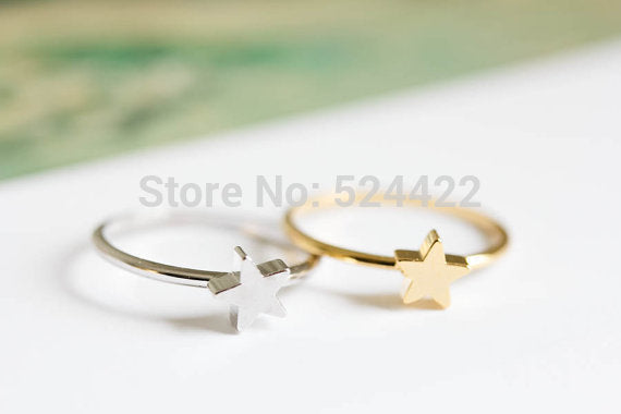 Min 1pc star midi knuckle rings star shape finger rings gold/silver/rose-gold star knuckle ring JZ223