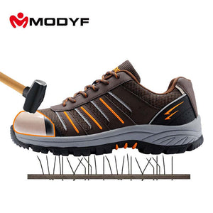 Modyf Men steel toe cap work safety shoes reflective casual breathable outdoor boots puncture proof protection footwear