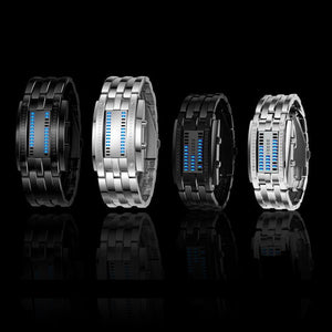NEW Hot Led Displayer Luminous Sports Watches Deluxe Luxury LED Electronic Men Women Stainless Steel Wristwatches Blue Binary