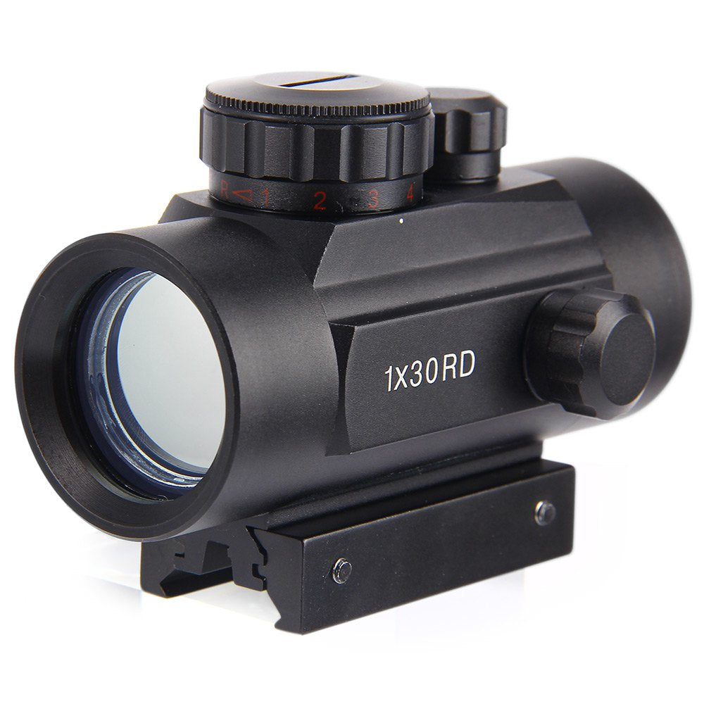 New 1 x 30RD Riflescope Tactical Holographic Red Green Dot Sight Scope Project 20mm Rail Mount for Shot Gun Hunting Airsoft
