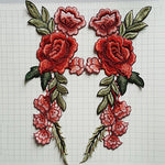 New 2pcs/Set Rose Applique Embroidery Flower Patches For Clothing Appliques Flores Bordadas Atacado Sewing Flower PatchesLQW0332