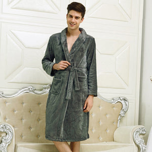 New Arrival Lovers Luxury Silk Flannel Winter Long Bathrobe Mens Kimono Bath Robe Men Women Night Dressing Gown Male Bathrobes