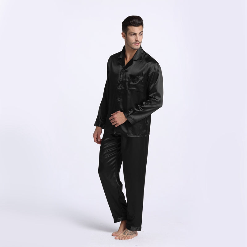 New Arrival Men's Stain Silk Pajamas Set Modern Style Silk Nightgown Men Satin Sleepwear Soft Cozy For Sleep Free Shipping
