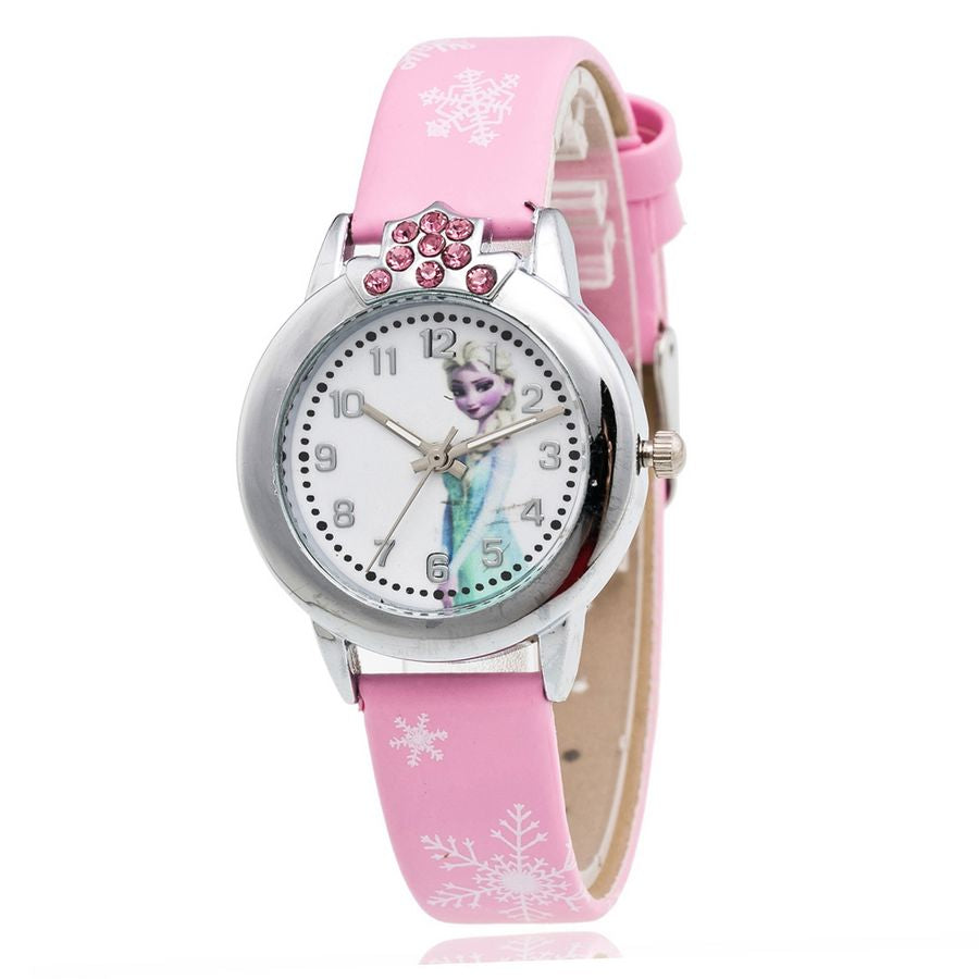 New Cartoon Children Watch Princess Elsa Anna Watches Fashion Girl Kids Student Cute Leather Sports Analog Wrist Watches