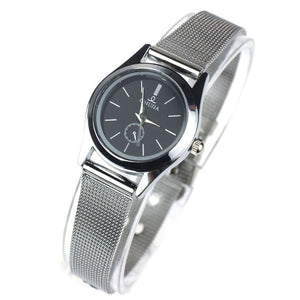 New Develop Black Dial Couple Lover Men Women Stainless Steel Quartz Thin Mesh Belt Wrist Watches Relogios Men & Women Watches