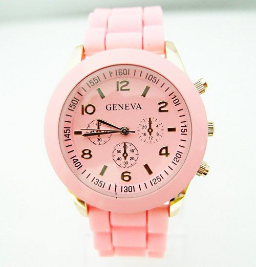 New Fashion Geneva Brand Rose Gold Case Silicone Watches Women Ladies Men Dress Quartz Wristwatch Relogio Feminino GV008
