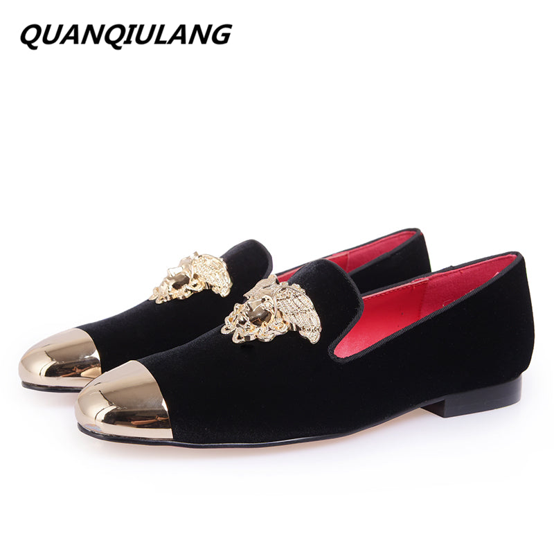 New Fashion Red Bottoms Gold Top And Metal Toe Men Velvet Casual